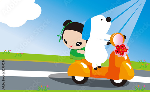 Dog driving a motorcycle to travel with a little girl