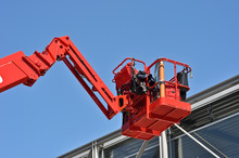 Red Hydraulic Construction Cra...