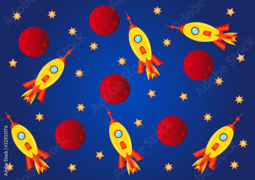 Garden Poster Cosmos spaceships, planets and stars in the universe