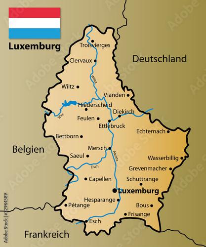 Foto op Canvas Wereldkaart Luxemburg