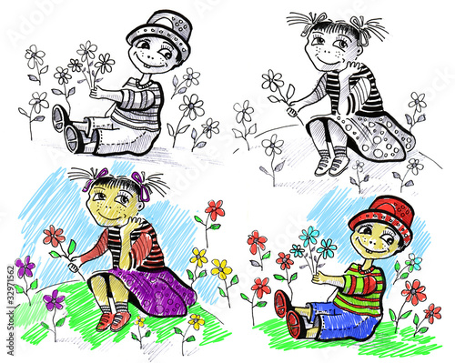 Hibou The girl and the boy with summer flowers