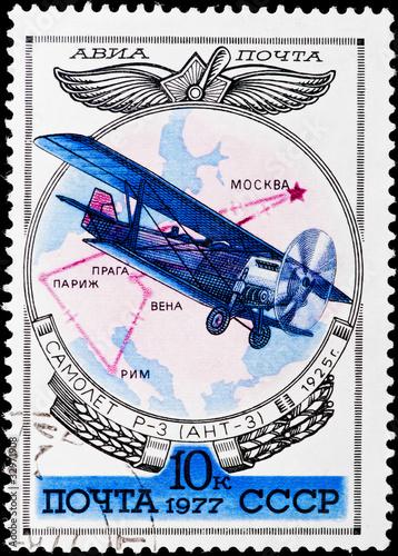 Fotografia  Postal stamp. Airplane R-3 (ANT-3), 1925