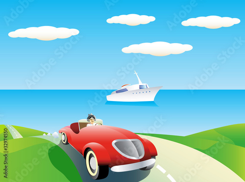 Foto op Canvas Cars Coastal landscape with car and yacht.