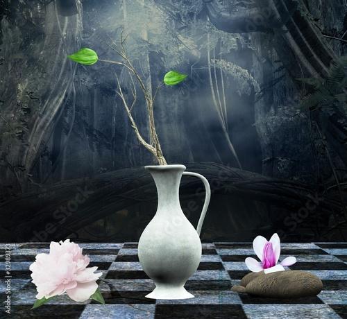 martwa-natura-z-piwonia-magnolia-i-starozytna-waza-na-szachownicy