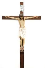 Crucified Jesus Christ On Wooden Cross, Isolated