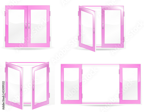 set of open and close pink windows isolated on white background
