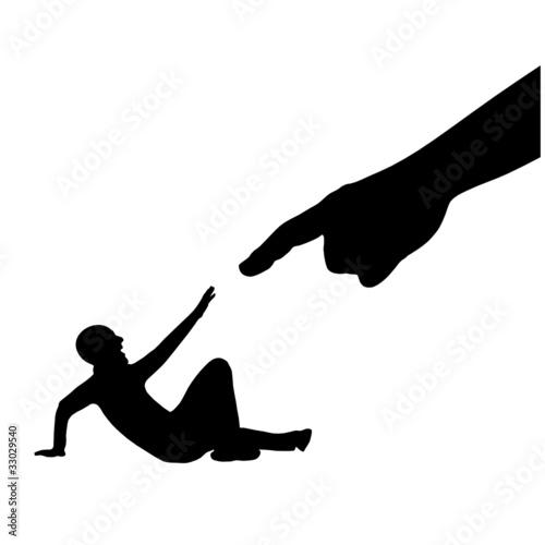 Fotografie, Obraz  schatten person am bogen liegend finger I