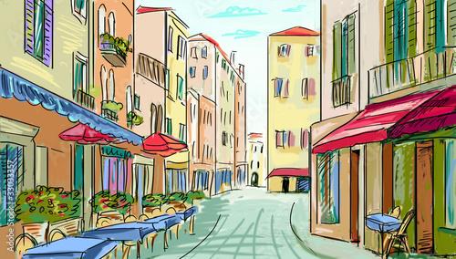 Foto auf AluDibond Gezeichnet Straßenkaffee street - facades of old houses in city
