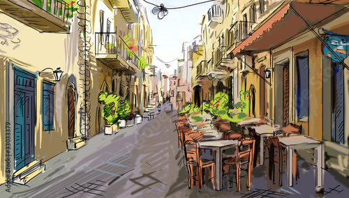 Keuken foto achterwand Drawn Street cafe street - facades of old houses in city
