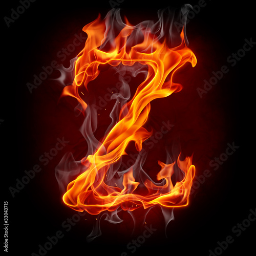 Poster Flamme Fire font. Letter Z.
