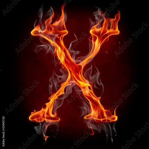 Recess Fitting Flame Fire font. Letter X.