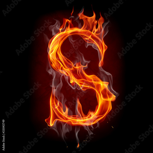 Poster Flamme Fire font. Letter S.