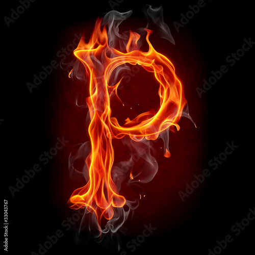 Recess Fitting Flame Fire font. Letter P.
