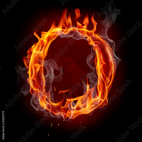 Poster Flamme Fire font. Letter O.