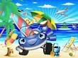 Auto Cartoon Vacanze e Viaggi-Cartoon Car Beach Background