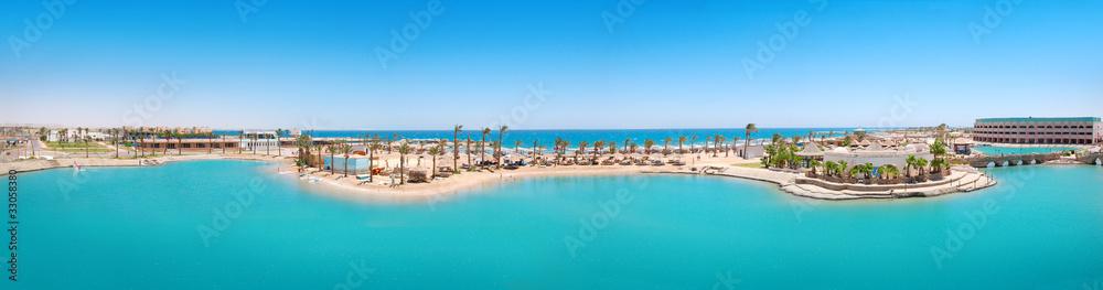 Fototapeta Panorama of tropical resort in Egypt