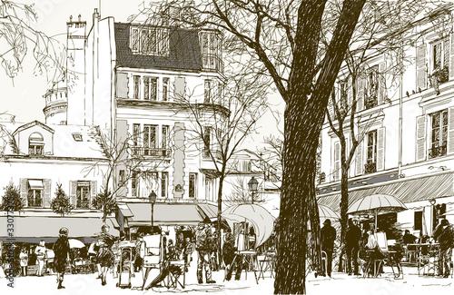 Montmartre w Paryżu pod śniegiem