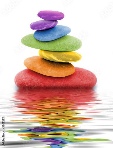 Doppelrollo mit Motiv - zen regenbogen kieselsteine im wasser