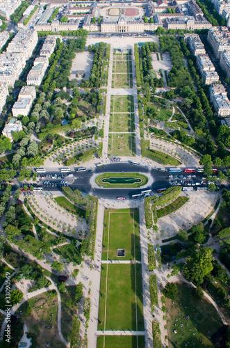 Fotografia  Aerial view on Champ de Mars from the Eiffel tower, Paris