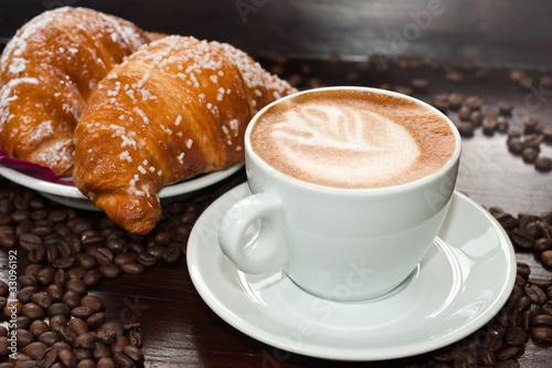Fotografie, Obraz  Brioches e cappuccino