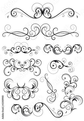 Poster Spiraal set di decorazioni classiche con fiori, foglie e spirali