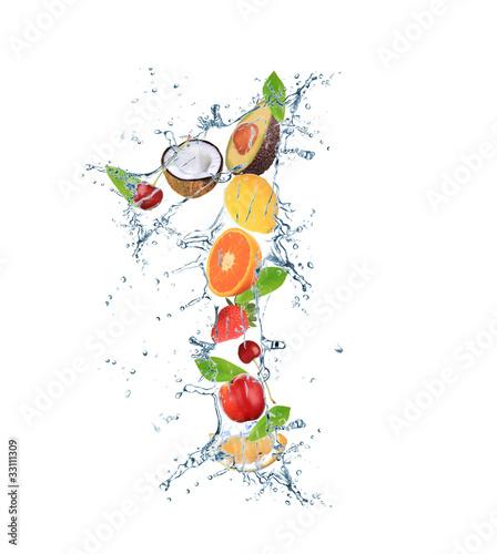 Ingelijste posters Opspattend water Fresh fruit number