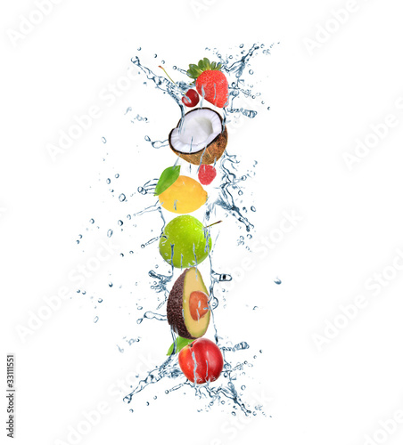 Fotobehang Opspattend water Fresh fruit alphabet letter