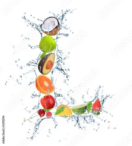 Ingelijste posters Opspattend water Fresh fruit alphabet letter
