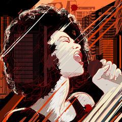 Fototapeta samoprzylepna jazz singer on grunge background