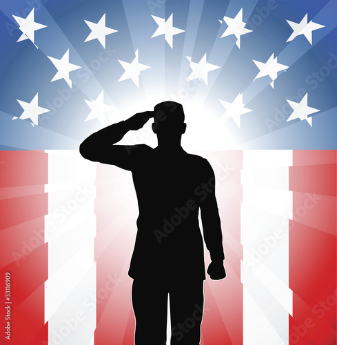 Photo  Patriotic soldier salute