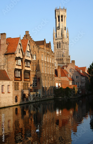 Deurstickers Brugge the Bell Tower and old town of Bruges in Belgium