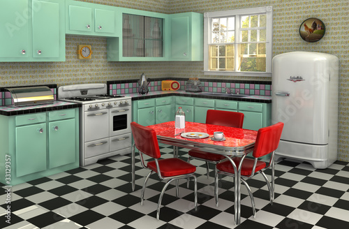 1950's Kitchen Wallpaper Mural