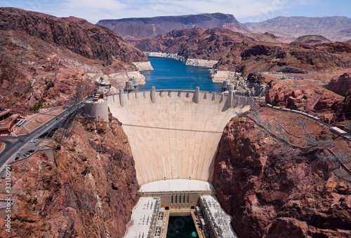 In de dag Dam Aerial view of Hoover Dam