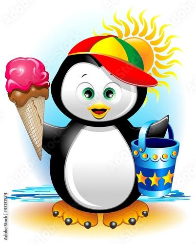 In de dag Regenboog Pinguino cartoon Gelato e Spiaggia-Penguin at the Beach-Vector
