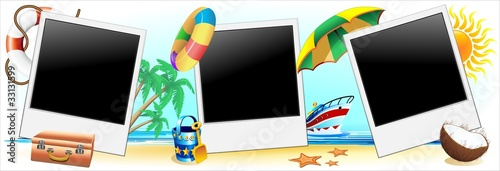 Poster Draw Foto Vacanze Mare Sfondo-Summer Holidays Background-Vector-1