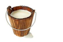 Milk In Wooden Bucket