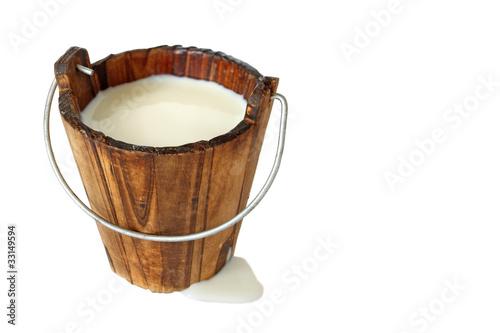 Fotografie, Obraz  milk in wooden bucket