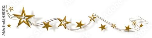 Fotomural Sterne Gold auf Weiß - banner 01