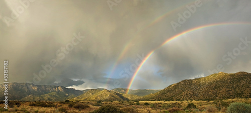 Spoed Fotobehang Onweer Desert Landscape: Double Rainbow over Sandia Mountains