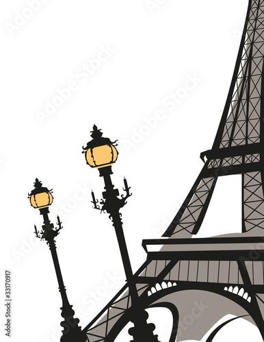 Eiffel Tower with Street Lights