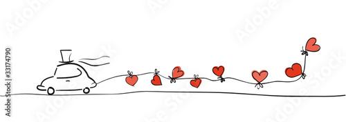In de dag Cartoon cars Zeichnung Hochzeitsauto mit Herzen