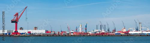 Staande foto Rotterdam harbor cranes