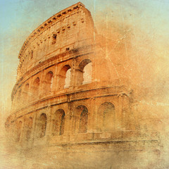 Fototapetagreat antique Rome - Coloseum , artwork in retro style