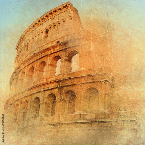 great antique Rome - Coloseum , artwork in retro style Canvas Print
