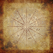 Zodiac Circle On Very Old Paper