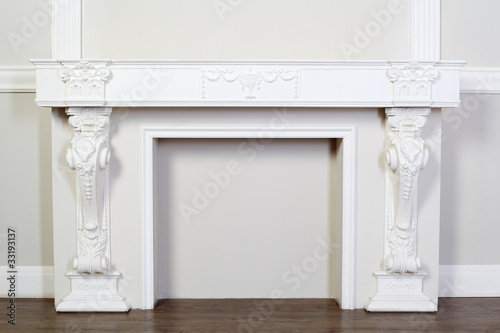 Fotografija  beautiful ornate white decorative plaster moldings in studio