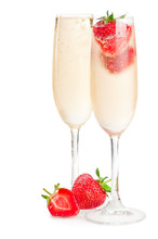 Two Glasses Of Sparkling Wine (champagne) And Strawberry
