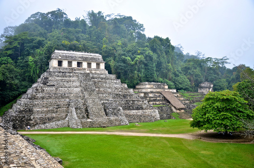 Palenque ruins in the morning mist