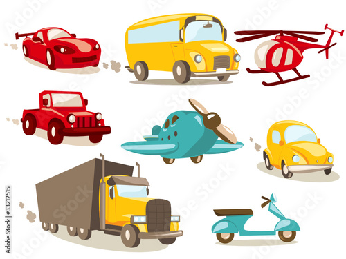 Spoed Foto op Canvas Cartoon cars Cartoon vehicles, vector illustration