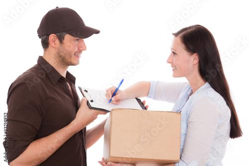 Fotografie, Obraz  frau paket post postmann